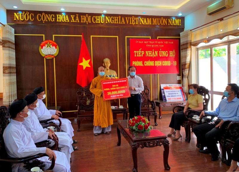 Ban Trị sự Phật giáo tỉnh Quảng Nam ủng hộ mua vắc-xin phòng chống dịch Covid-19