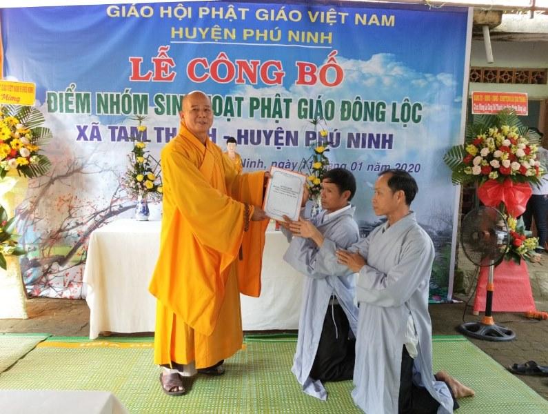 Phú Ninh: Công bố quyết định thành lập điểm nhóm sinh hoạt Phật giáo tại xã Tam Thành