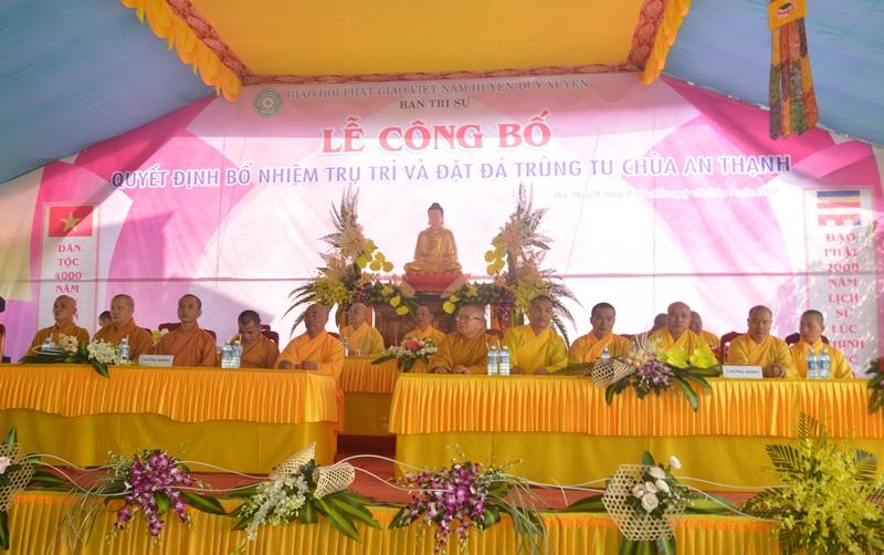 Duy Xuyên: Công bố quyết định bổ nhiệm trụ trì chùa An Thạnh