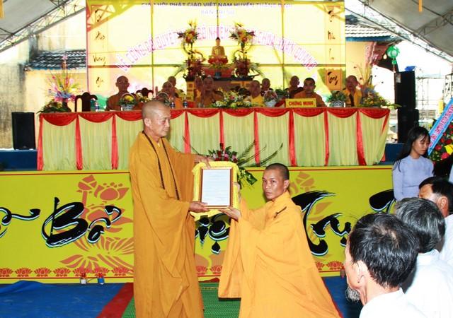 Thăng Bình: Bổ nhiệm trụ trì chùa Xuân Quang